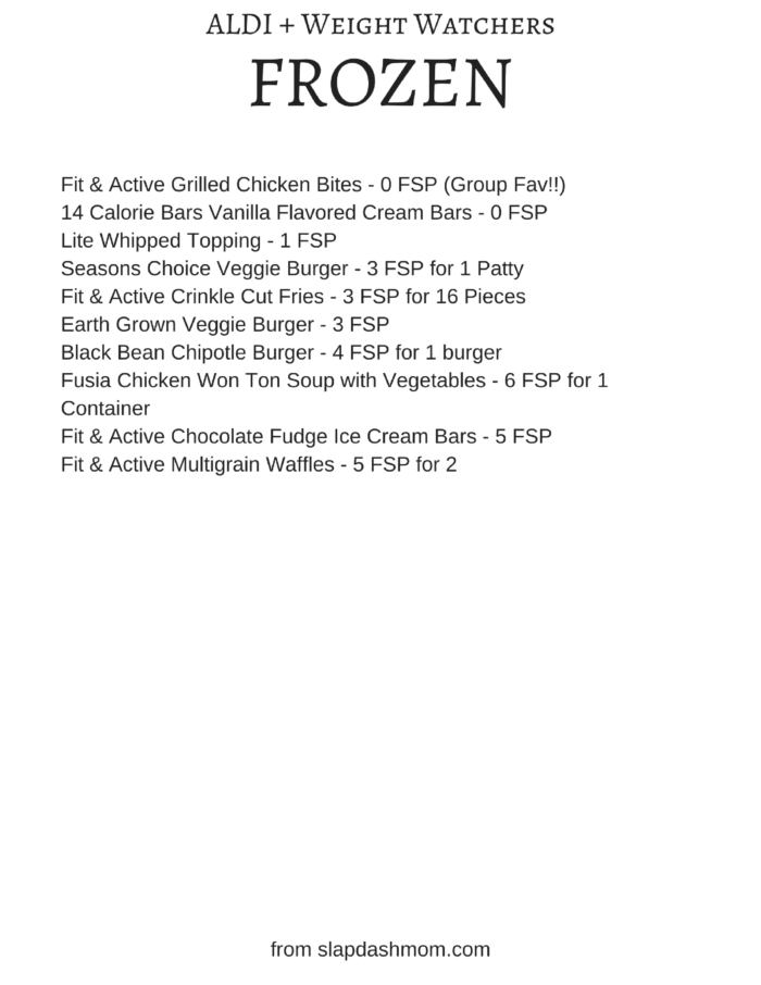 aldi weight watchers shopping list printable