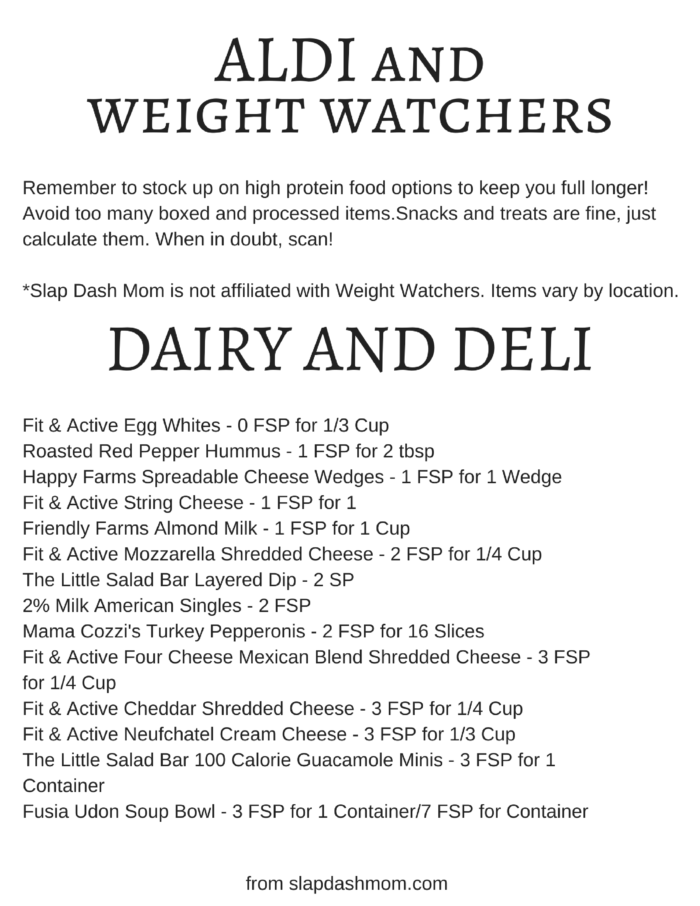 weight watchers aldi list