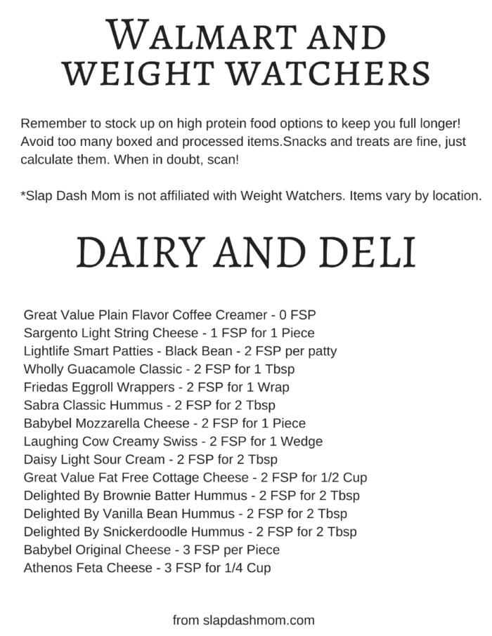 weight watchers walmart list