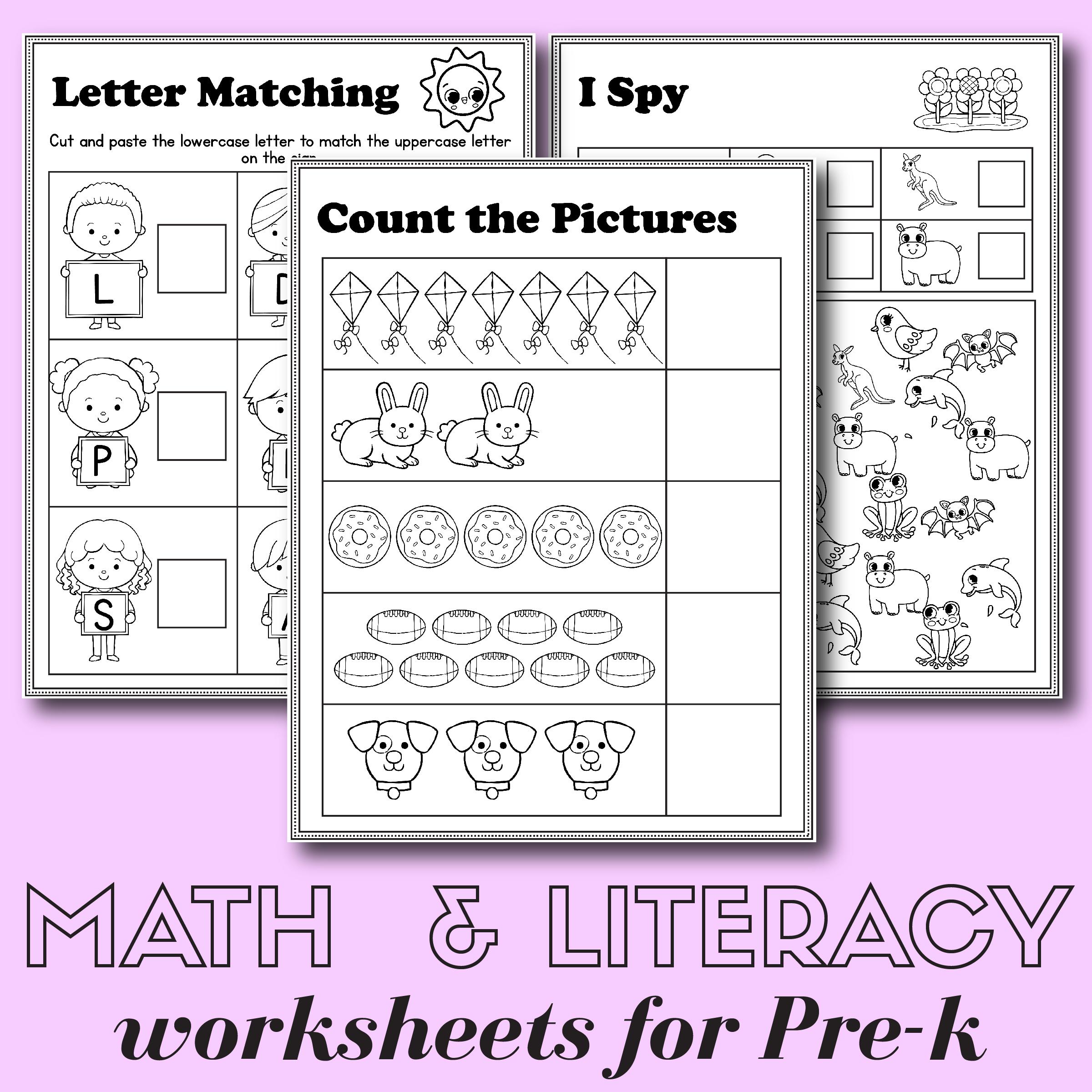 Preschool Math and Literacy Worksheets – Free Printables – Slap Dash Mom