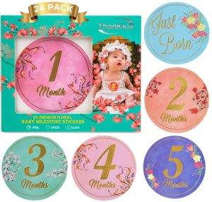favorite baby items floral milestone stickers