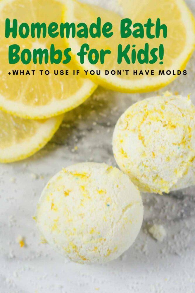 homemade bath bombs for kids- top view of lemon vanilla bath bombs homemade