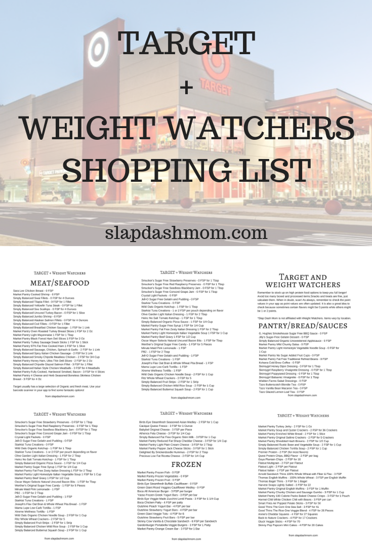 Weight Watchers Target Shopping List
