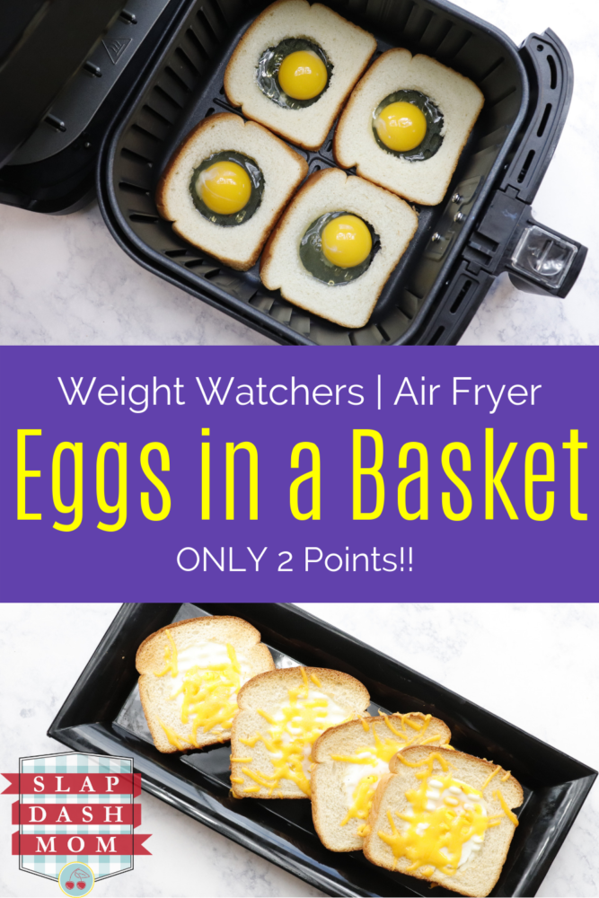 Air fryer eggs in a basket are also called eggs in a hole! This is such a fun breakfast to make and now you can use your air fryer with almost no cleanup! Ready in minutes and low in points if you are on Weight Watchers!