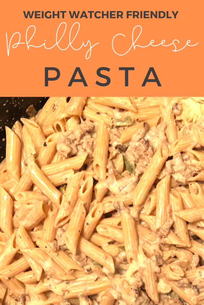 Philly Cheesesteak pasta is the perfect combination between a pasta dish and a cheesesteak! Although it's a little higher in points, this meal is totally worth it! Budget friendly and a one pot meal! #weightwatchers #onepotmeal #pasta #cheesesteak