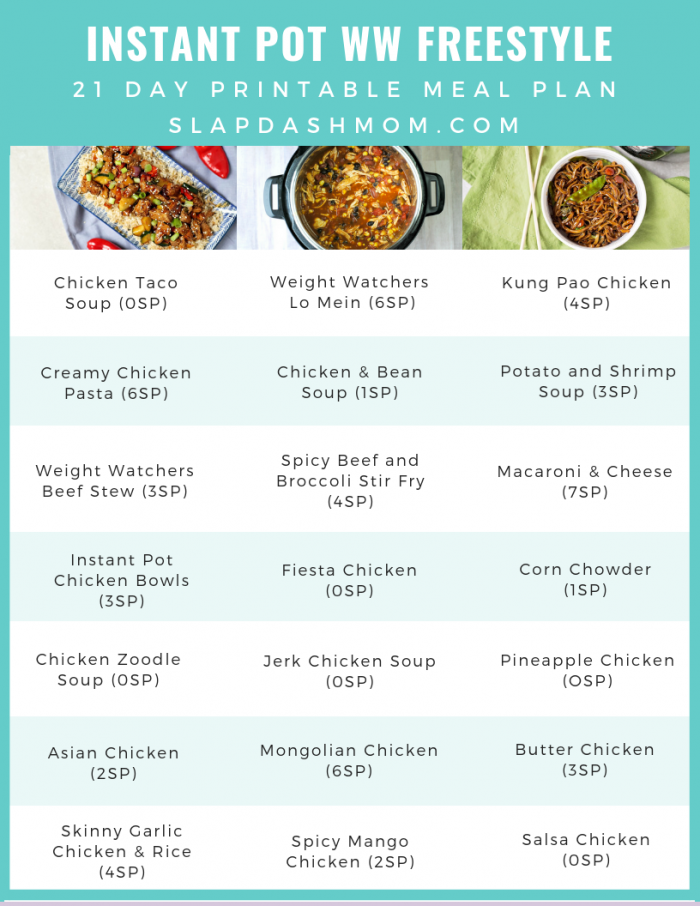 instant pot weight watchers meal plan