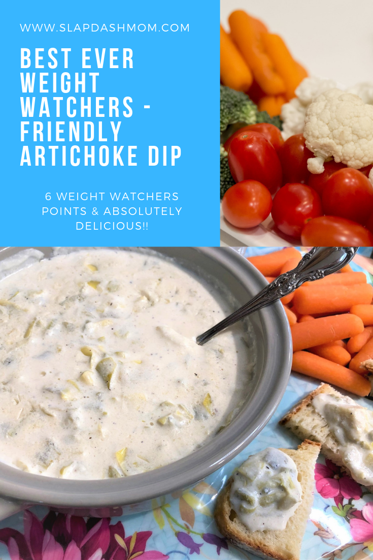 Weight Watchers Friendly Cheesy Artichoke Dip