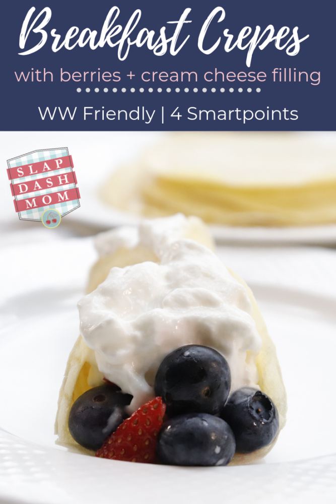 Who says you can't have crepes for breakfast and be on Weight Watchers? Try these easy delicious breakfast crepes with berries and a cream cheese filling! ONLY 4 Smartpoints if you are following Weight Watchers! #ww #breakfast # breakfastcrepes #crepes