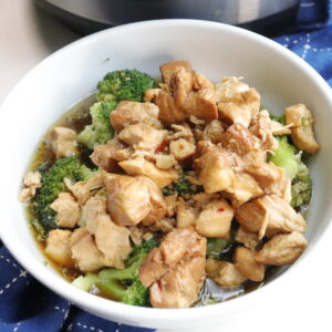 IP Teriyaki Chicken in a white bowl, close up