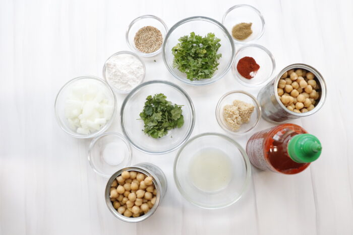 Ingredients in glass bowls for air fryer falafels