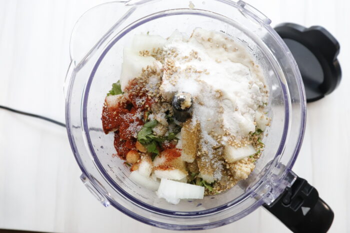 Combined Ingredients for air fryer falafels in food processor