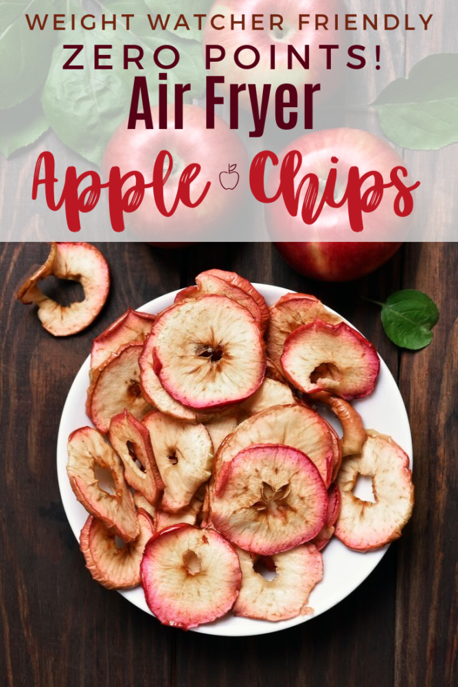 Air fryer apple chips are a wonderful and healthy snack, especially if you are on Weight Watchers! They are easy to make and only a couple of ingredients! Plus this really takes the craving away from needing something crunchy! #weightwatchers #fall #apples #airfryerrecipes #applechips #applerecipes