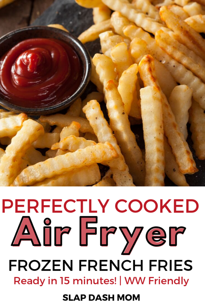 Air fryer frozen french fries are ready in under 15 minutes, crispy, and Weight Watcher Friendly! Don't waste your time with your oven any longer! #airfryerreci;es #frenchfries #weightwatchers #easysidedish