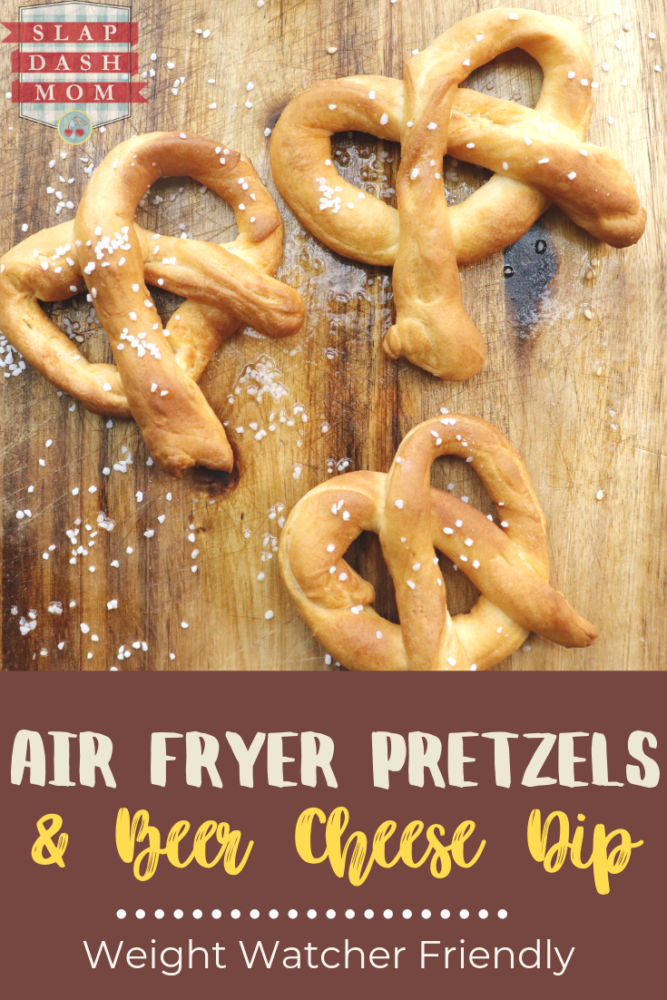 Find out how easy it is to make air fryer pretzels! Don't forget the beer cheese dip too! Both are Weight Watcher Friendly! They are soft, easy to make, and delicious! Great for a snack or appetizer! #ww #airfryerrecipes #softpretzels #weightwatchers