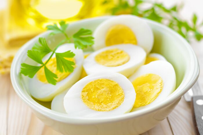 hard boiled eggs with garnish
