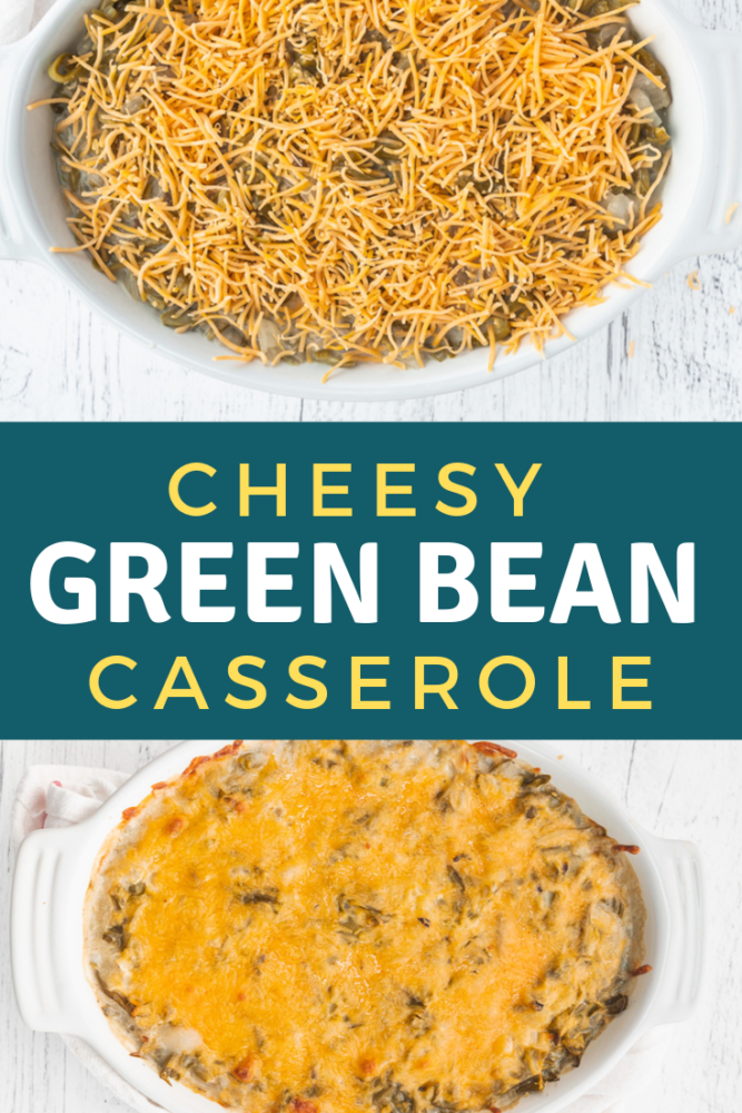 Easy Cheesy green bean casserole is a great low point side dish, and ready in under 30 minutes! Delicious, cheesy and perfect for any meal! With super simple ingredients, you don't have to wait until Thanksgiving to make it! #weightwatchers #sidedish #easymeals #Thanksgiving