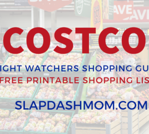 Costco Weight Watchers shopping list white background text overlay