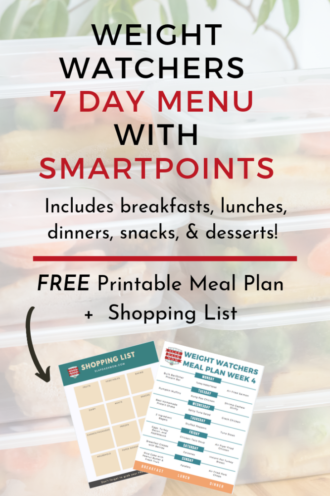 FREE Weight Watchers Weekly Menu with breakfast, lunch, dinner, snacks, and desserts! Perfect for planning your weekly meals and meal prep! All Smartpoints are included with each meal. FREE PRINTABLE MENU and Shopping list! #ww #mealplan #weeklymenu #weeklymealplan #mealprep #mealprepping