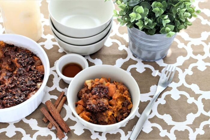 Instant pot thanksgiving sweet potato apple crisp in white bowl