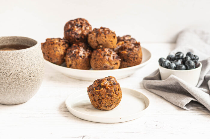 stack of instant pot banana blueberry muffins