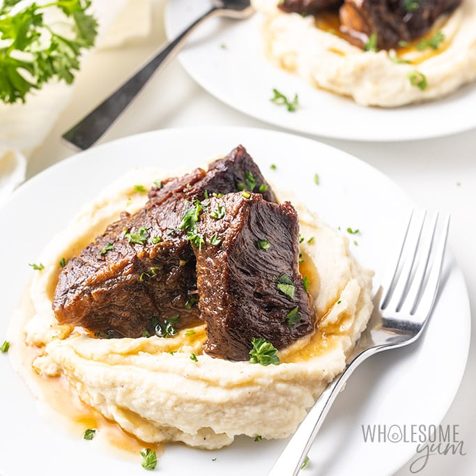 instant pot thanksgiving short ribs on top of potatoes