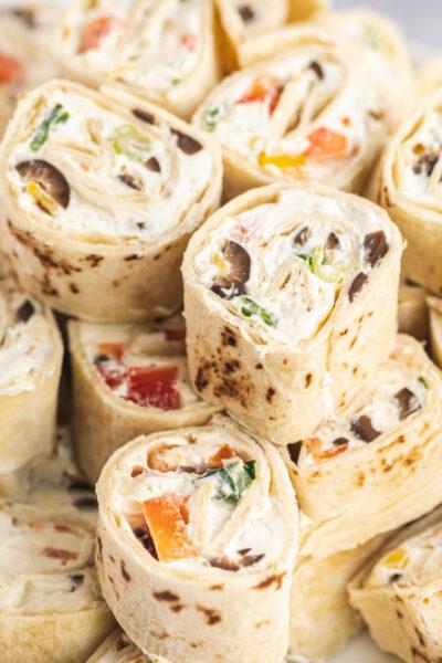 close up of veggie cream cheese pinwheels