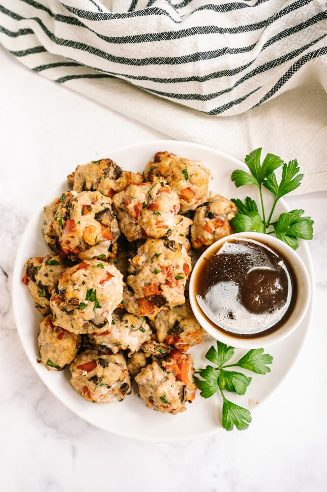 Air fryer meatballs with dipping sauce top view