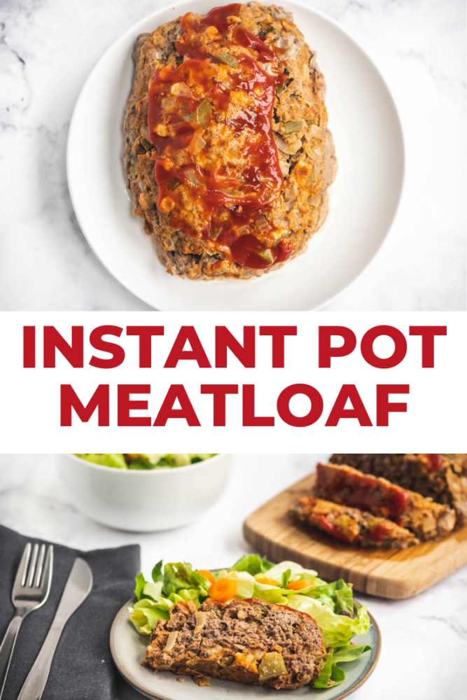 Easy Instant Pot Meatloaf is ready in 30 minutes, and is super tender and juicy! This easy meat loaf recipe can be made with 1 lb or 2lbs of ground meat. Don't forget to watch the video to see just how easy pressure cooking is! #meatloaf #pressurecooking #pressurecookerrecipes