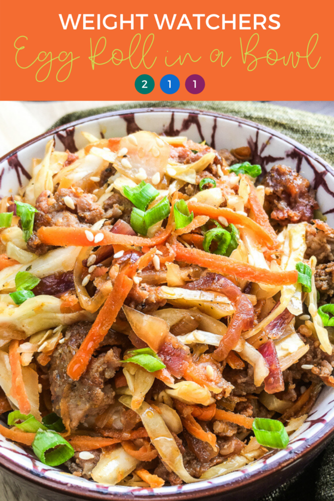 Weight Watchers Egg Roll in a Bowl is a quick, easy and healthy meal for 2 Smartpoints or less depending on which Weight Watchers plan you are on. My recipe uses lean ground turkey to lower the points, but you can also use beef or pork . #ww #eggrollinabowl #weightwatchers