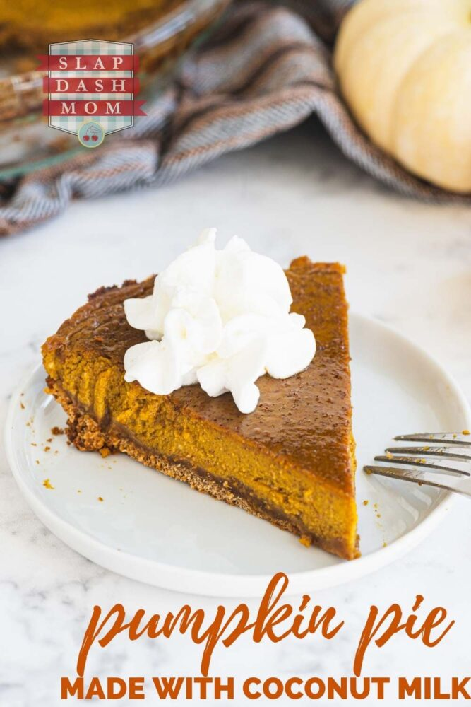 pumpkin pie with text overlay
