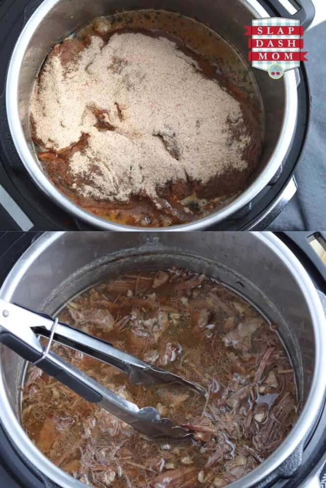 top image of roast topped with seasonings and au jus mix; bottom image is after roast has been shredded and added back to the instant pot