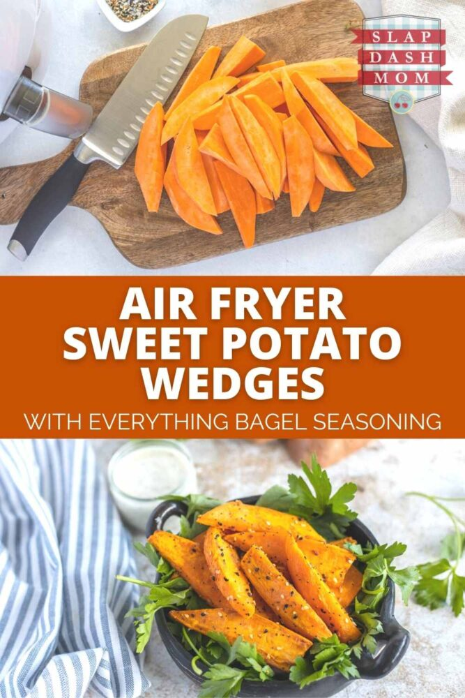 top shot of sweet potato wedges with another image after they have been air fried with text overlay