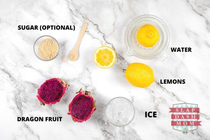 ingredients labeled to make dragon fruit lemonade