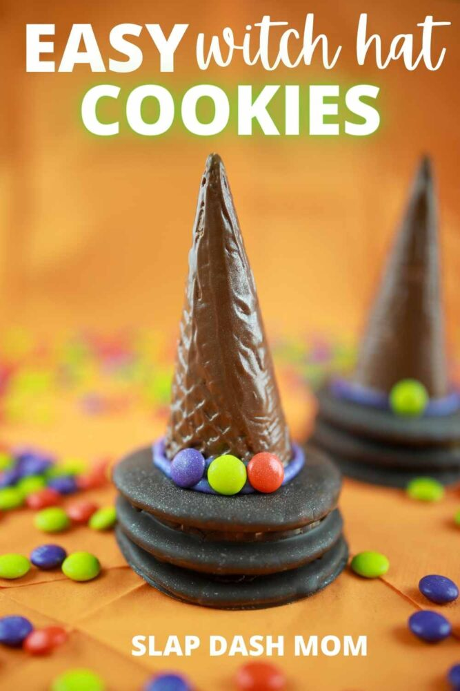 witch hat cookies made with moon pies with orange background and text overlay
