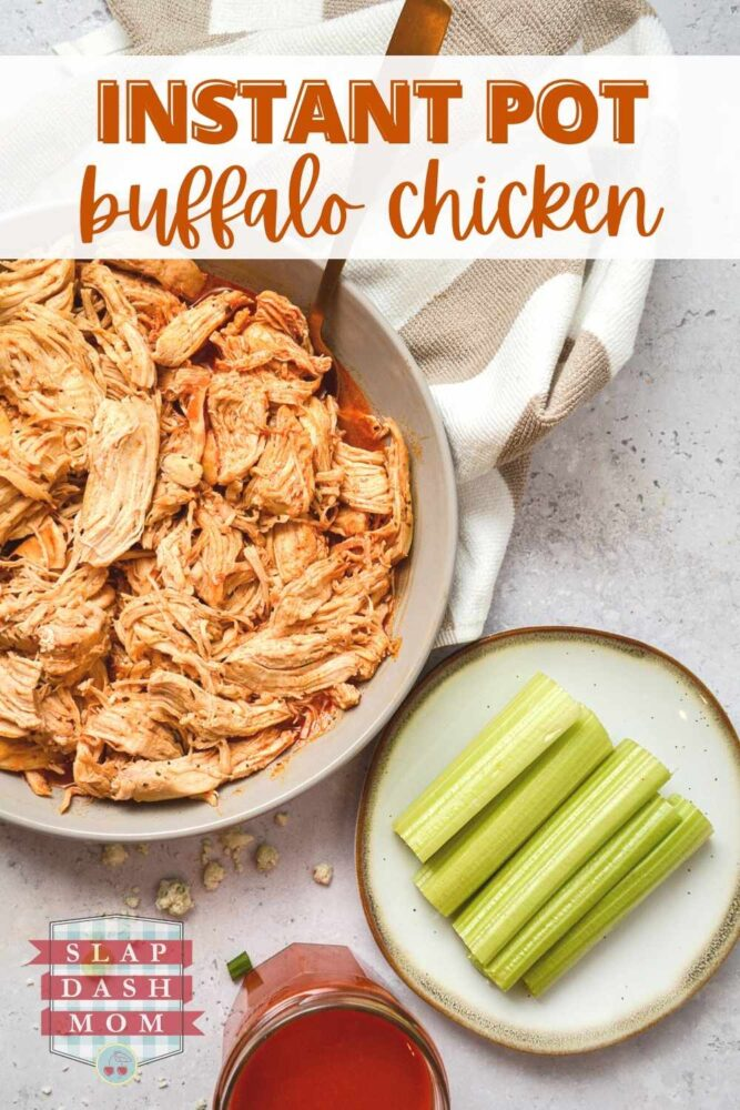 instant pot buffalo chicken in a white bowl next to celery with text overlay